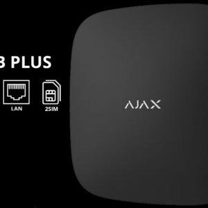 AJAX HUB PLUS / ЧОРНИЙ / централь охоронних безпровідних систем / макc.пристроїв - 150 / дальність звязку / 2000 м / термін роботи без живлення 15 год / колір чорний